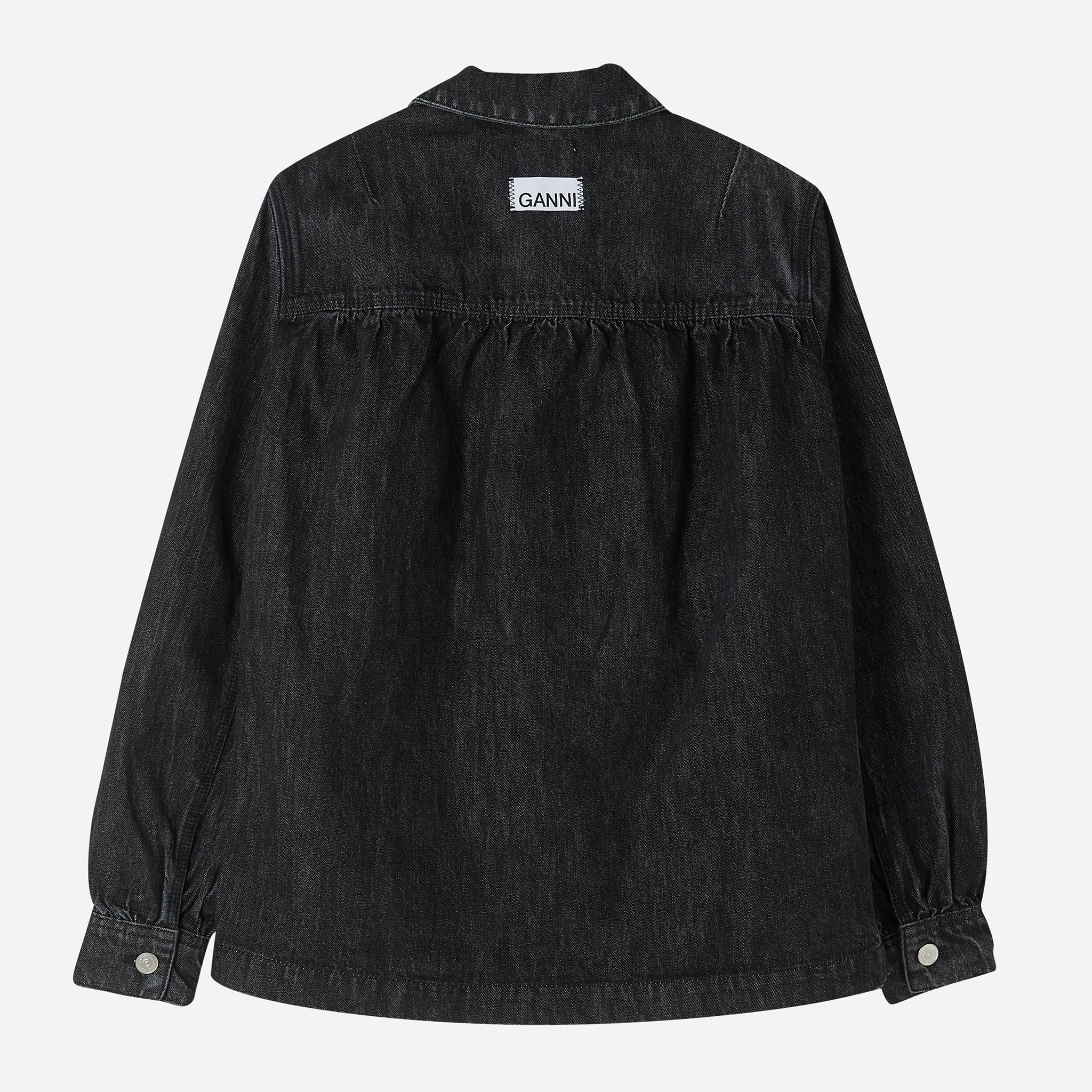 Ganni Washed Denim Shirt Jacket in Phantom