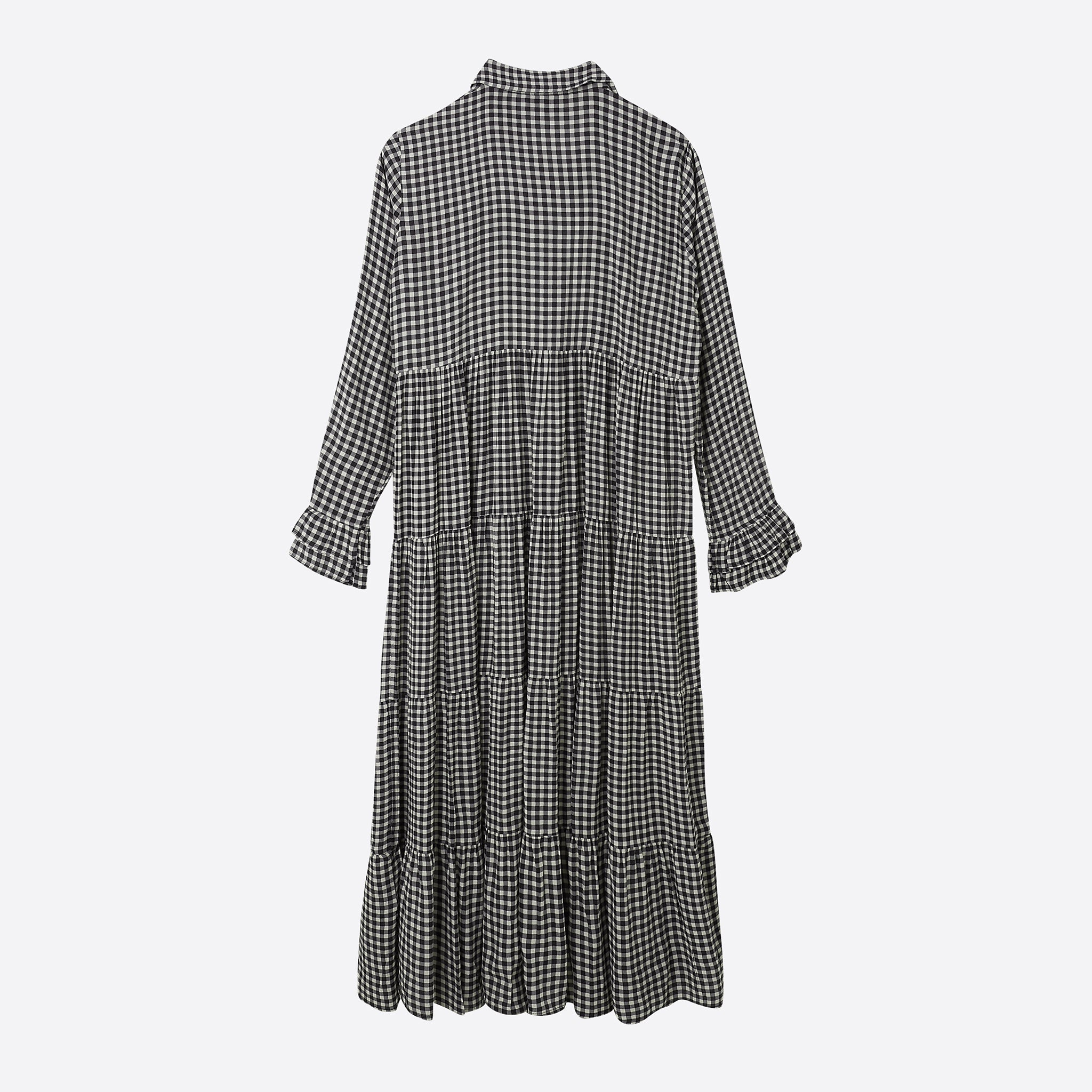 271f4bf1ac Ganni Printed Crepe Layer Dress in Black Gingham — Our Daily Edit