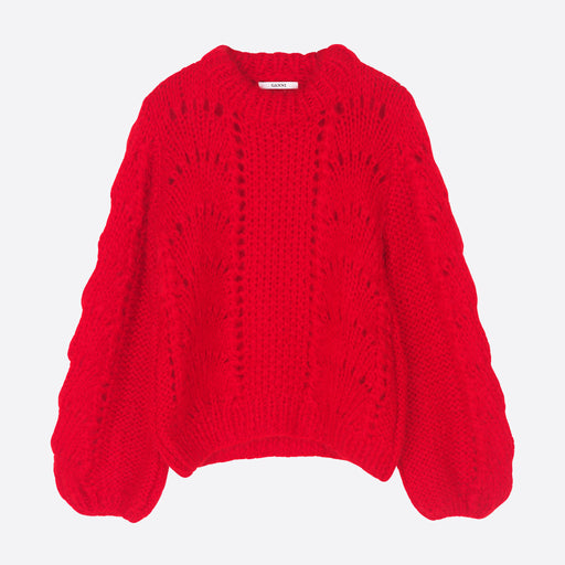 Ganni Julliard Mohair Pullover In Red