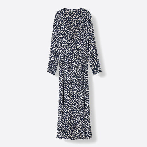 Ganni Roseburg Crepe Wrap Dress in Total Eclipse