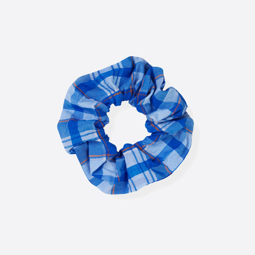 Ganni Charron Seersucker Scrunchie in Lapis Blue