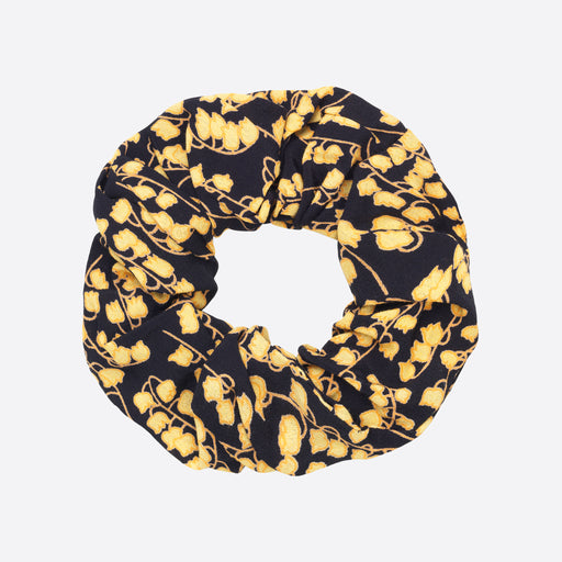Ganni Crepe Scrunchie In Black/Yellow