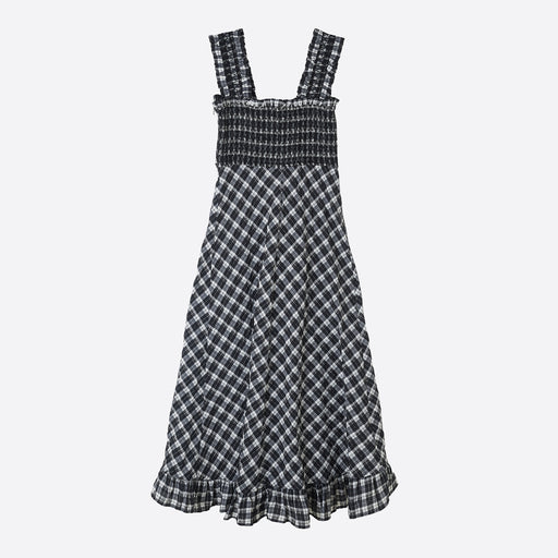 Ganni Seersucker Check Maxi Dress in Black