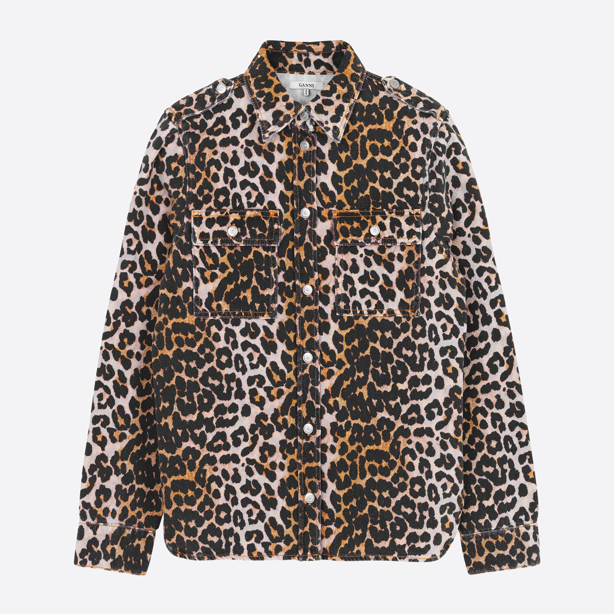 Ganni Printed Denim Utility Shirt in Leopard