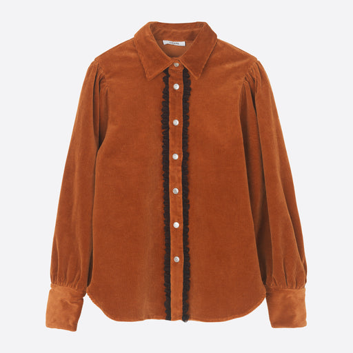 Ganni Stretch Corduroy Shirt in Caramel