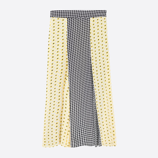 Ganni Printed Crepe Skirt in Maize & Gingham