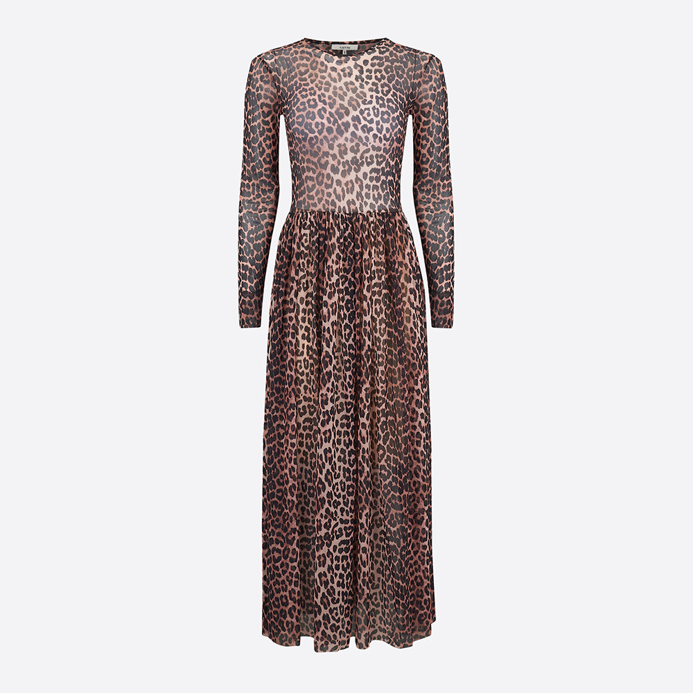 c65bc29643ec Ganni Tilden Mesh Maxi Dress in Leopard — Our Daily Edit