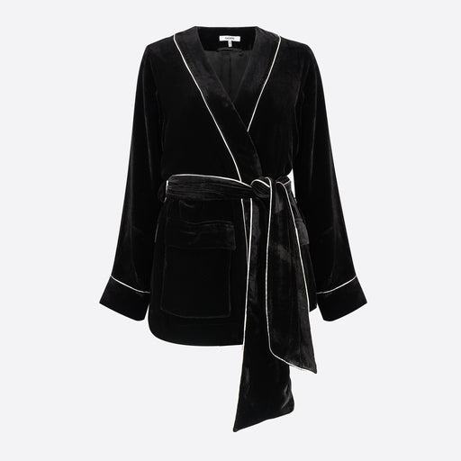 Ganni Rodier Jacket in Black Velvet