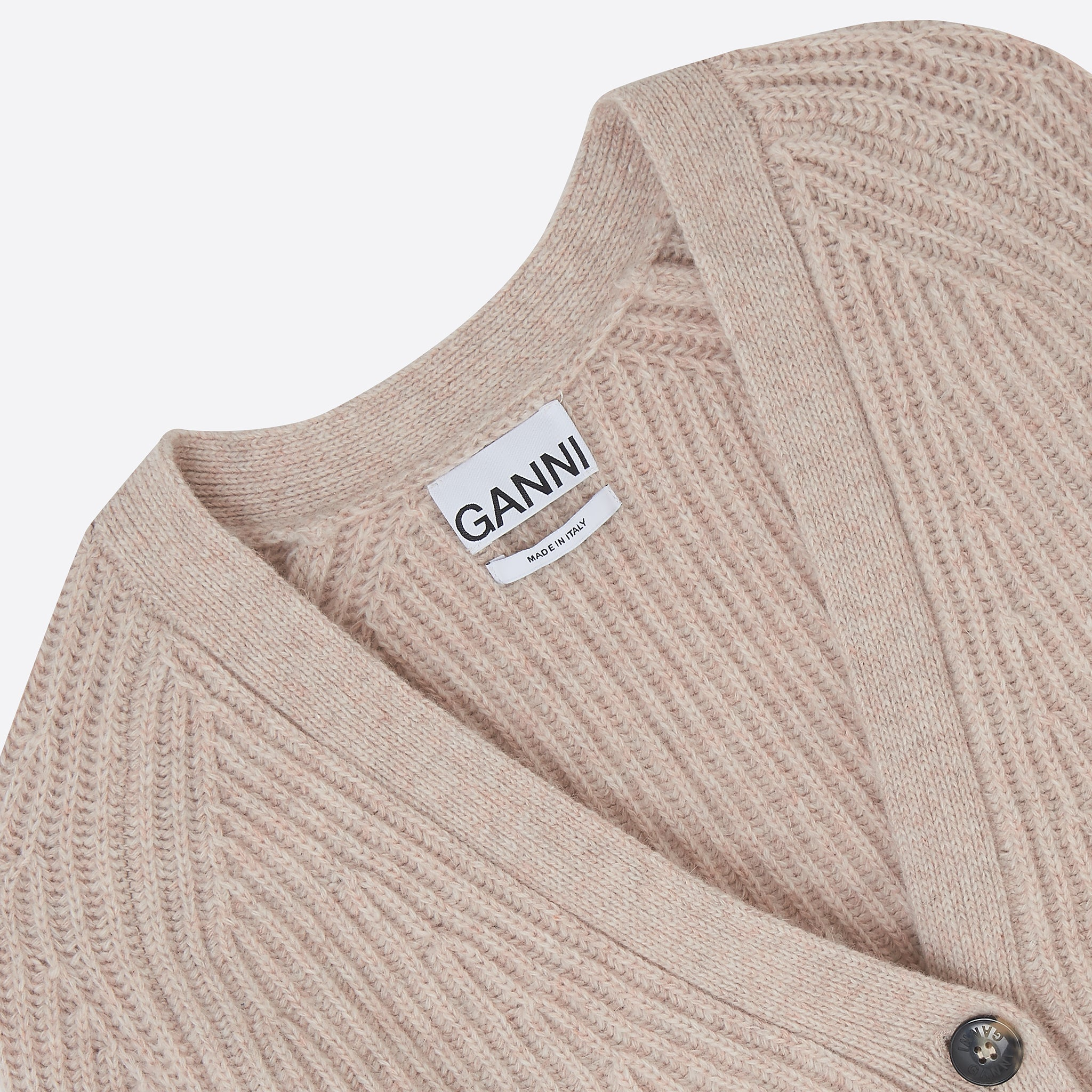 Ganni Rib Knit Cardigan in Brazilian Sand