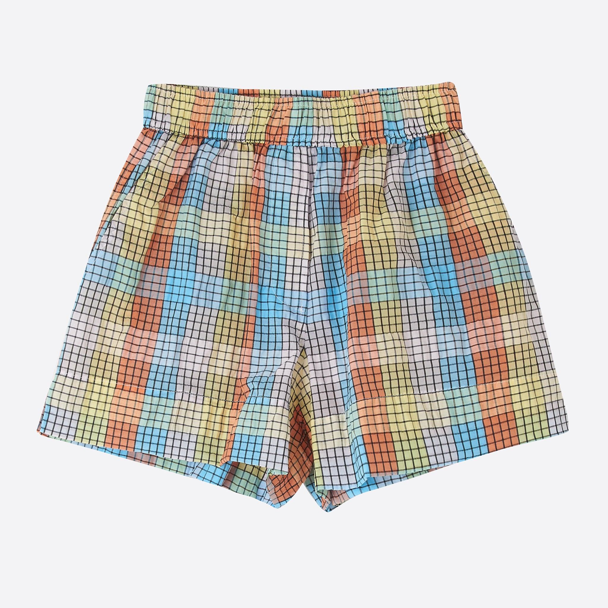 Ganni Seersucker Check Shorts in Multicolour