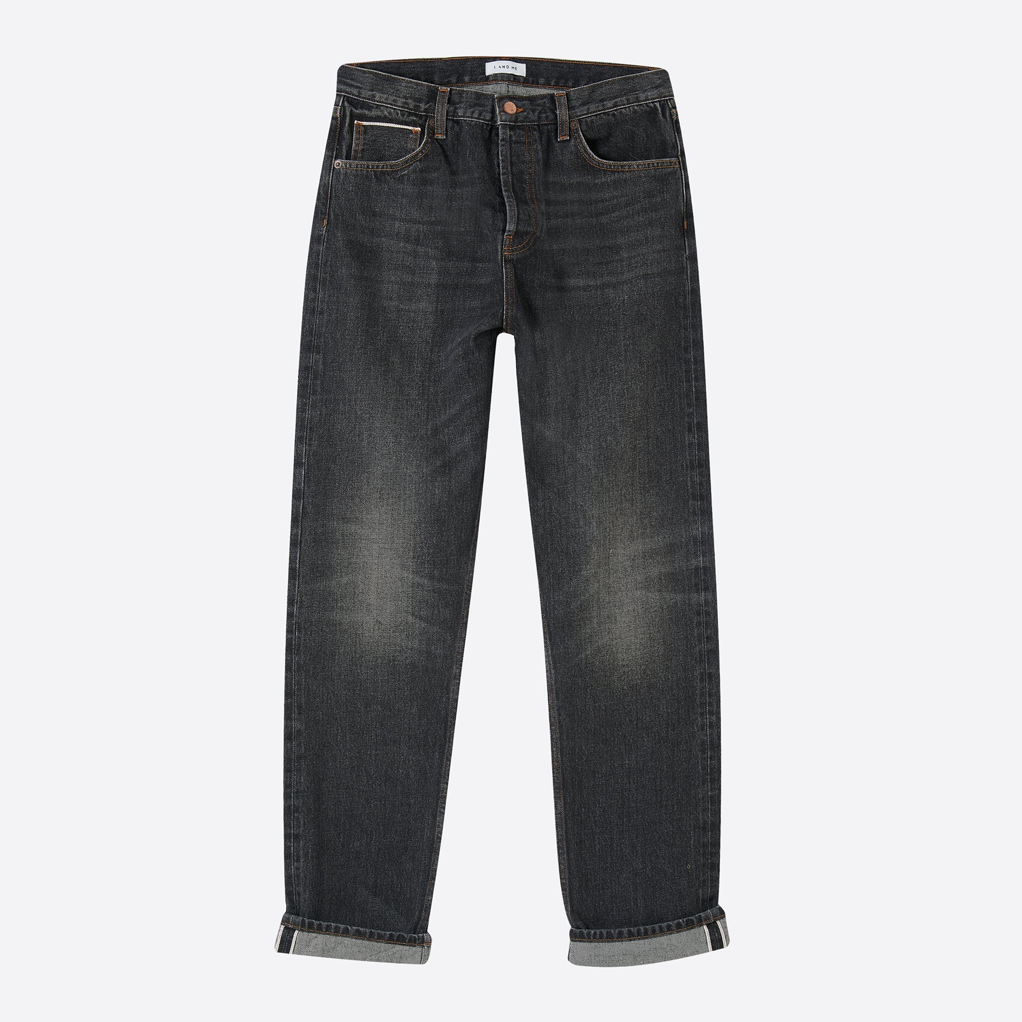 I AND ME Selvedge Slim Leg Jeans in Washed Black