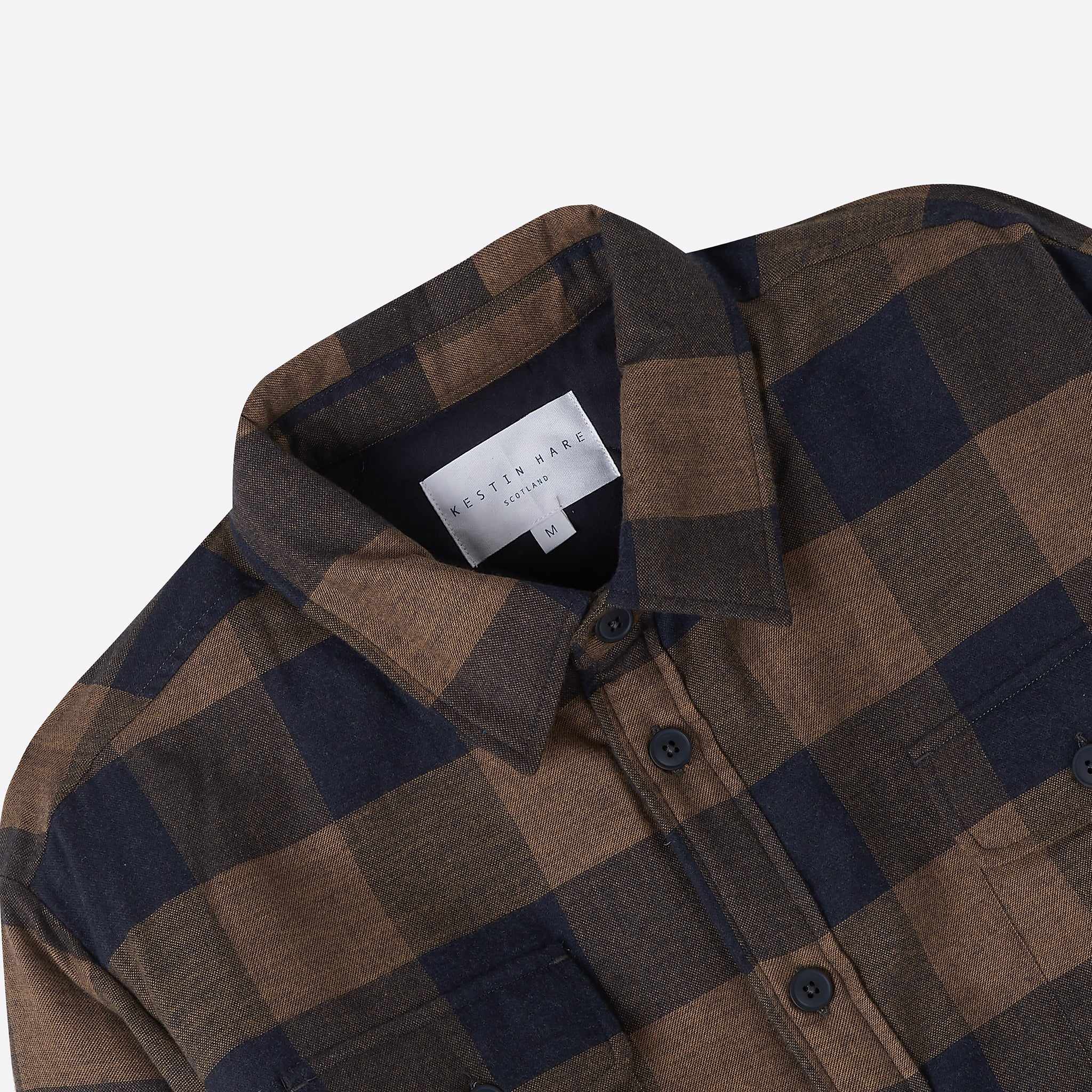 Kestin Hare Haston Shirt Jacket in Tobacco and Navy