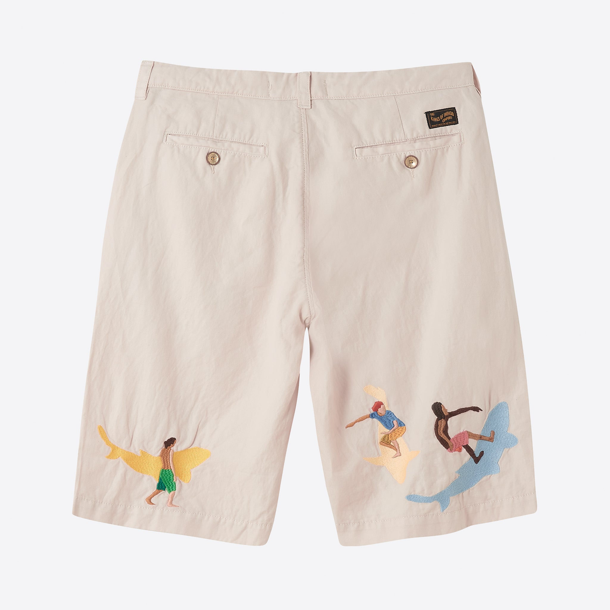 Kings Of Indigo Cronus Shorts in Ecru Koinobori Surf