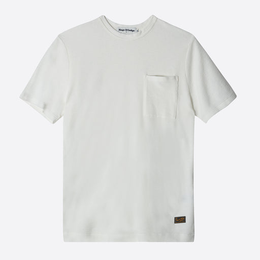 Kings of Indigo Hywel Level Tee in Off White Waffle