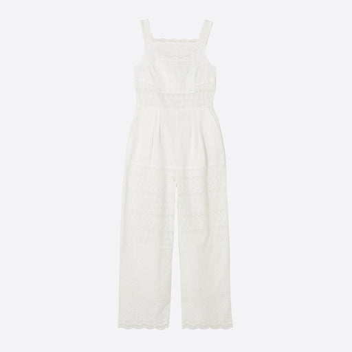 LF Markey Beau Jumpsuit in White Broderie Anglais