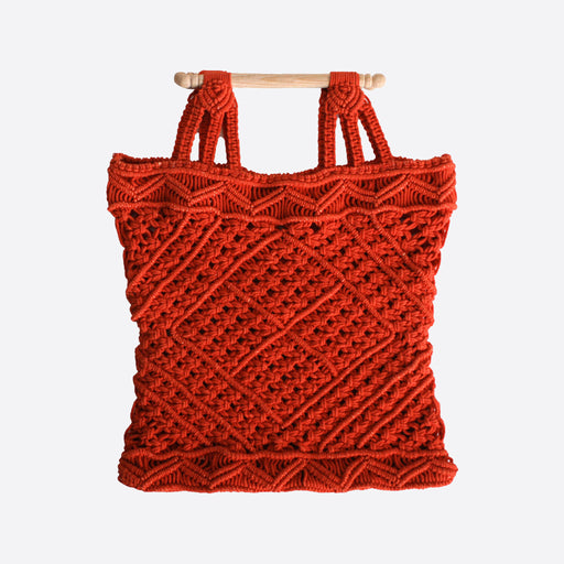LF Markey Macrame Bag in Vermillion