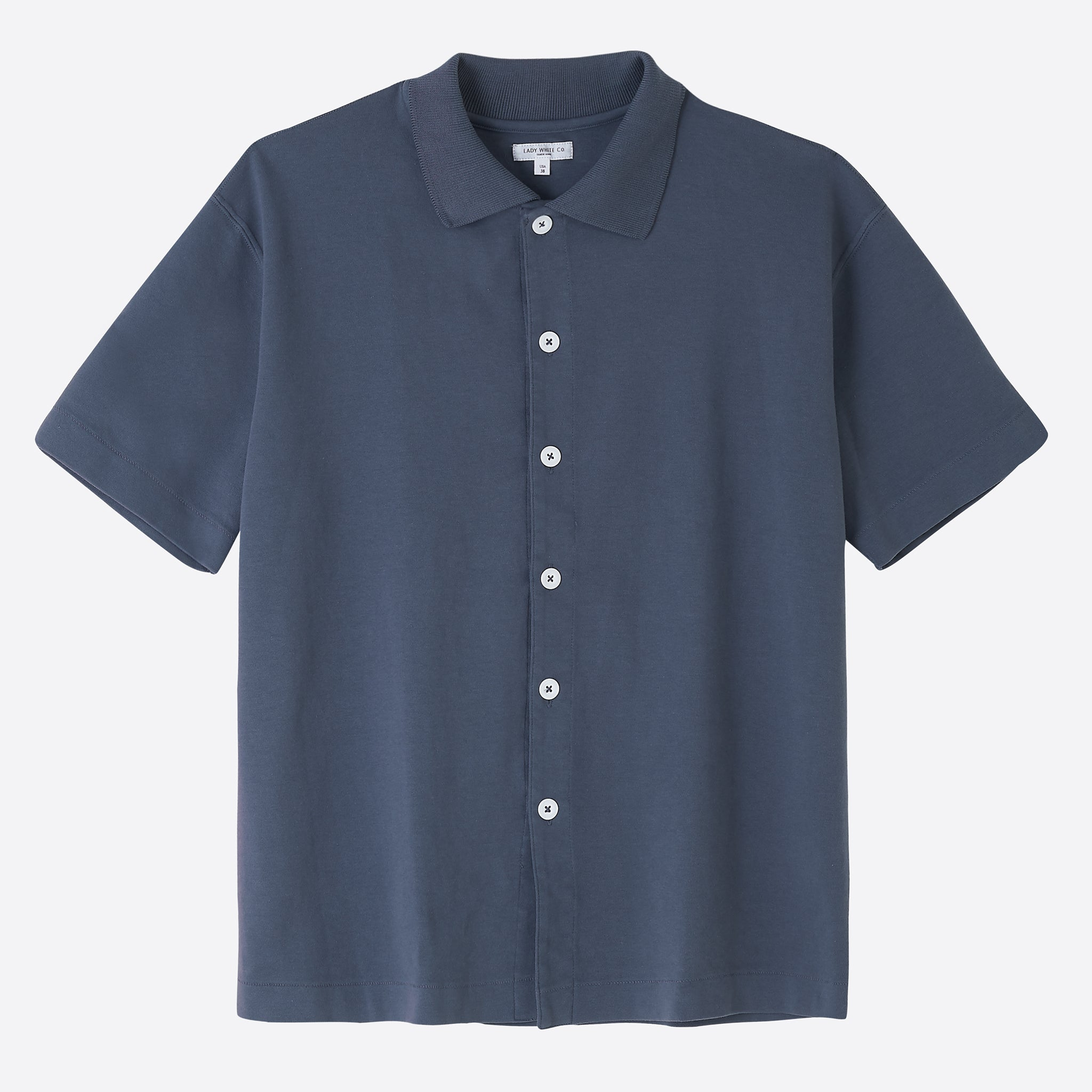Lady White Co. Placket Polo in Night Grey