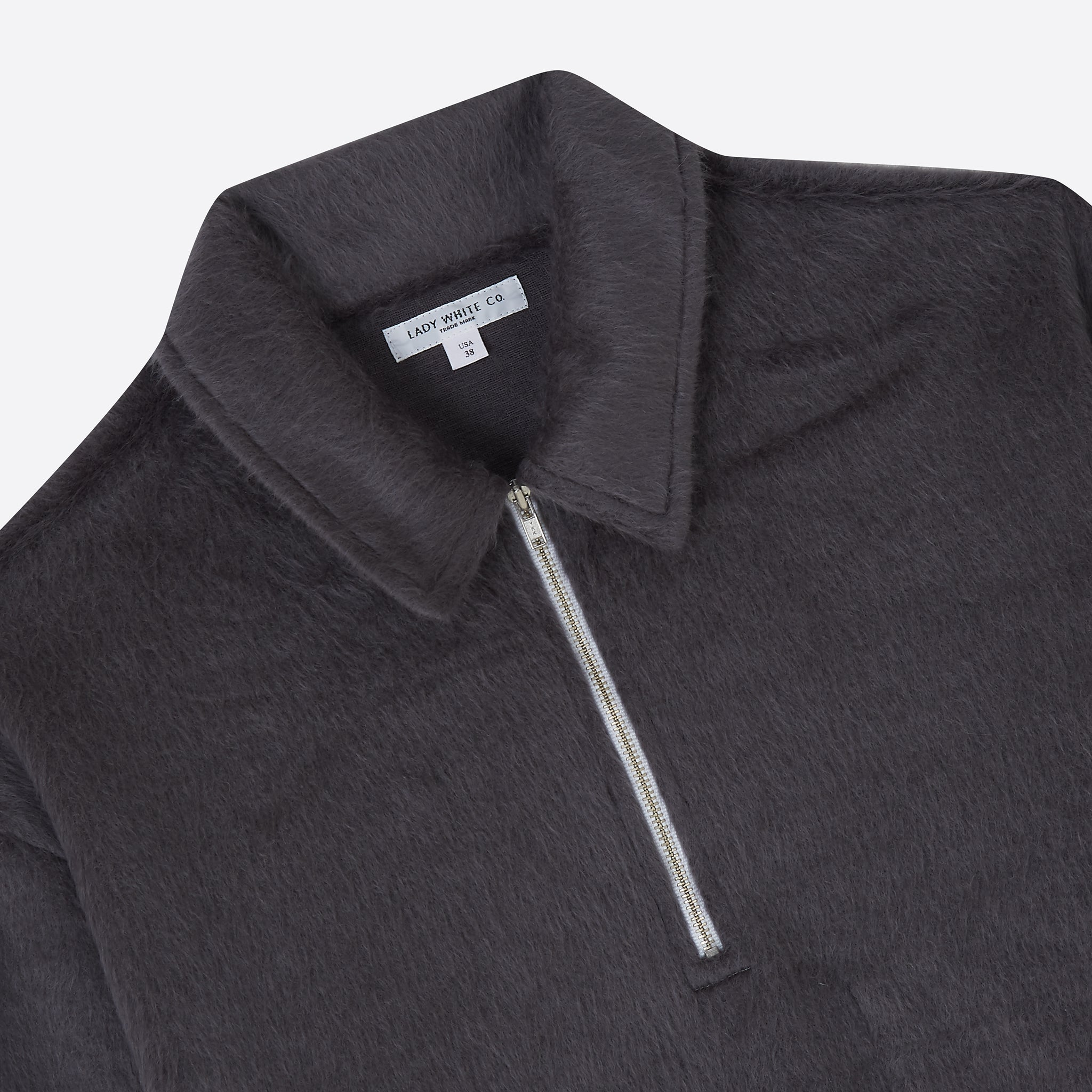 Lady White Co. Furry Quarter Zip in Steel Grey