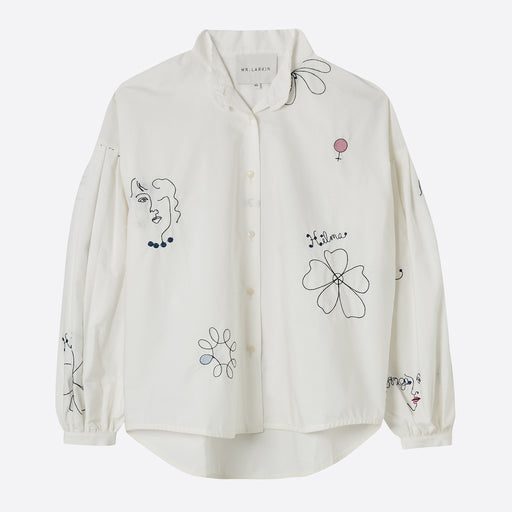 Mr Larkin Poppy Cut Shirt in White Hilma Embroidery