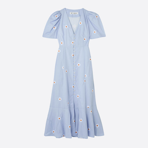 Mr Larkin Penny Dress in Blue Flower Embroidery