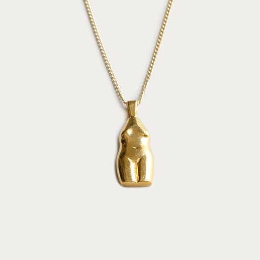 Wolf Circus Woman Vase Necklace in Gold