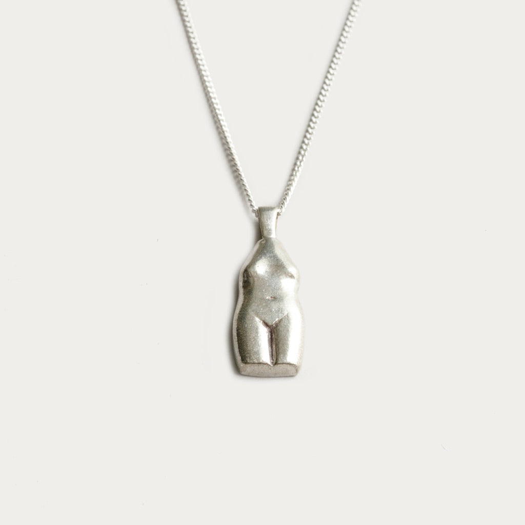 Wolf Circus Woman Vase Necklace in Silver