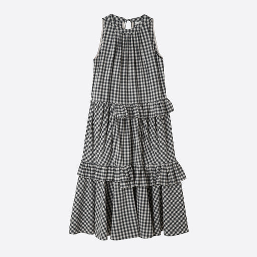 Neul Frilled Trapeze Dress in Black Gingham Check