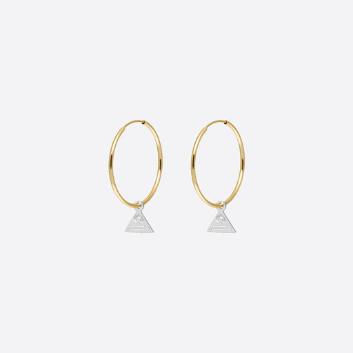 Nagle and Sisters Triangle Token Hoops in Silver and Gold