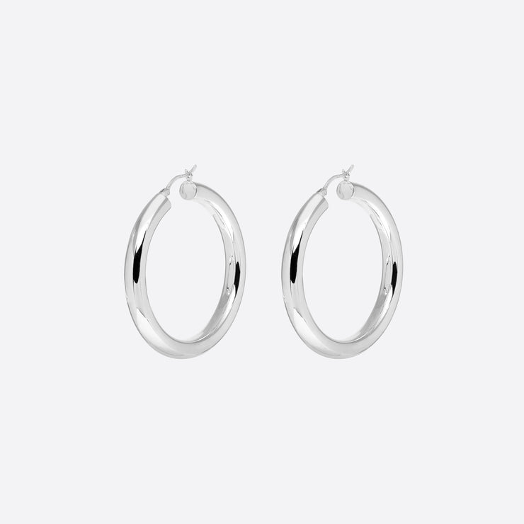 Nagle and Sisters Saros Hoops in Silver