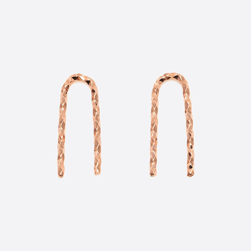 Nagle and Sisters Sparkle Staple Earrings in Rose Gold