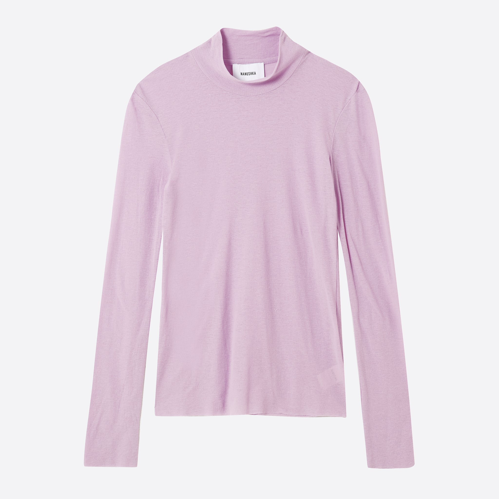 Nanushka Alana Mock Neck Top in Dusty Pink
