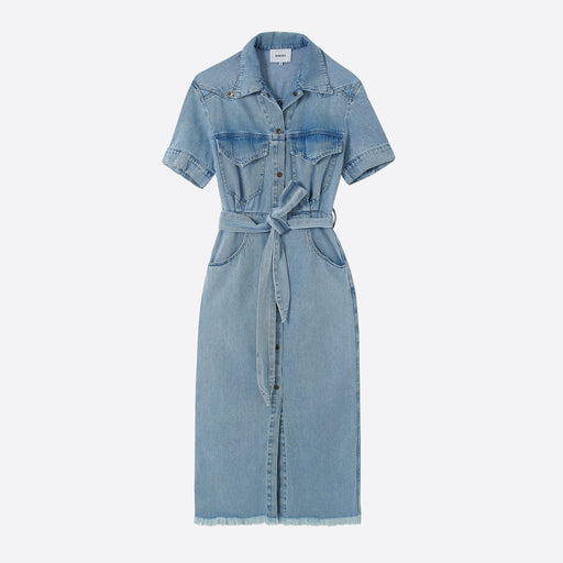 Nanushka Goji Denim Shirt Dress in Light Blue