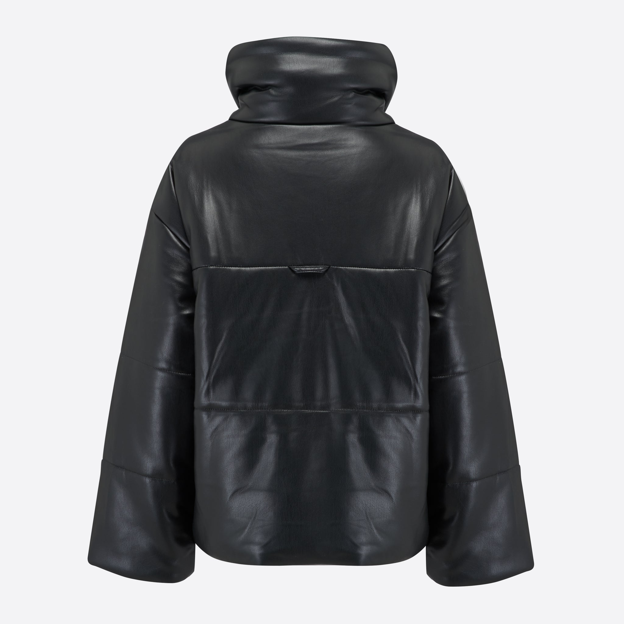 Nanushka Hide Vegan Leather Puffer Jacket in Black