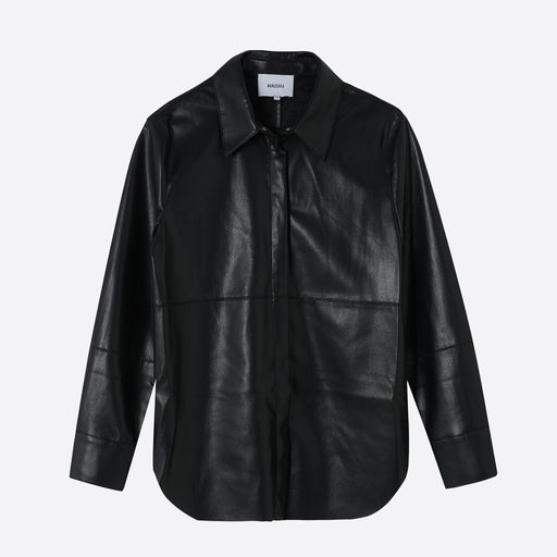 Nanushka Naum Vegan Leather Shirt in Black