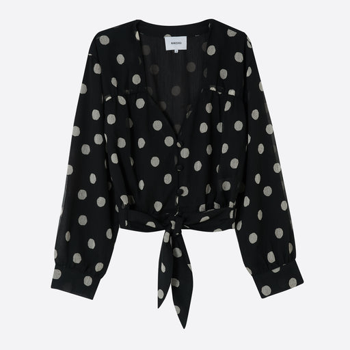 Nanushka Amulet Novelty Blouse in Polka Dot