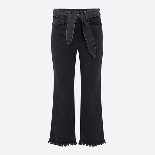 Nanushka Pyramid Wide Leg Jeans in Washed Black