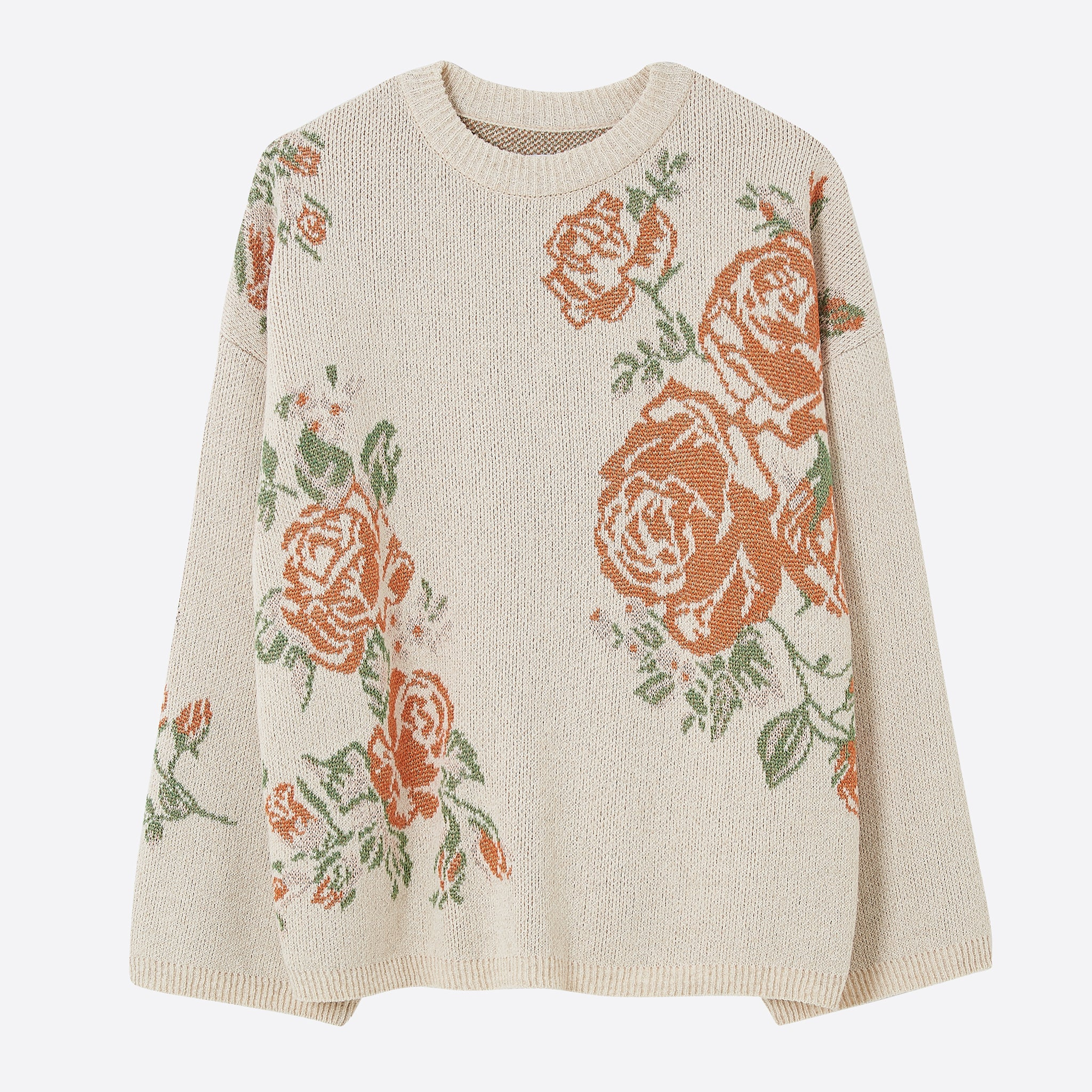 Nanushka Farrah Rose Intarsia Sweater in Creme / Red / Yellow