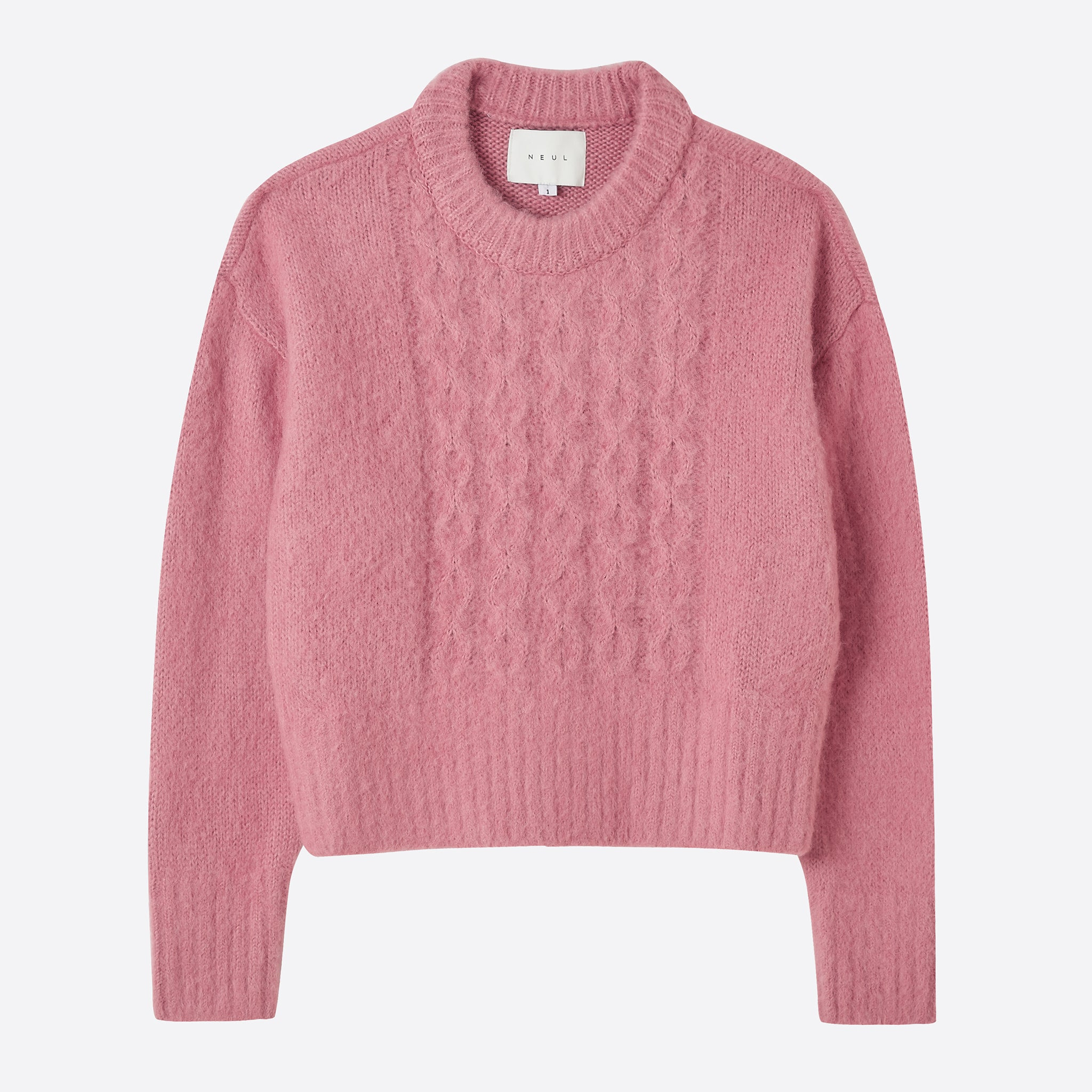 Neul Cable Knitted Brushed Sweater in Coral Almond