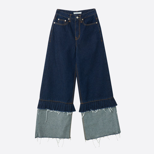 Neul Frill Detail Denim Wide Pants in Dark Blue