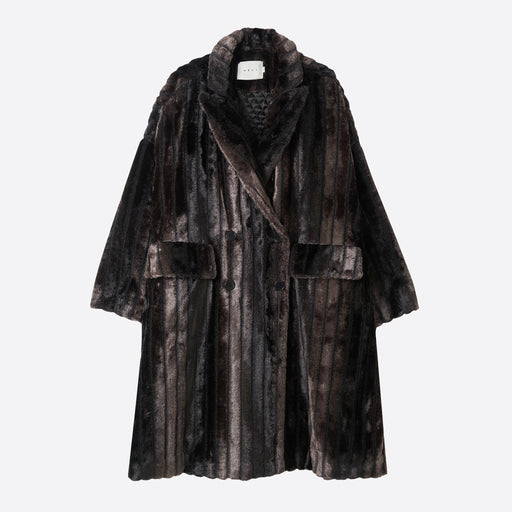 Neul Mink Hair Faux Fur Coat in Black
