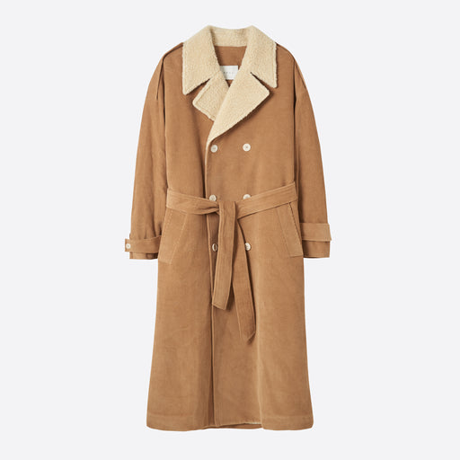 Neul Shearling Faux Fur Collar Trench Coat in Sand