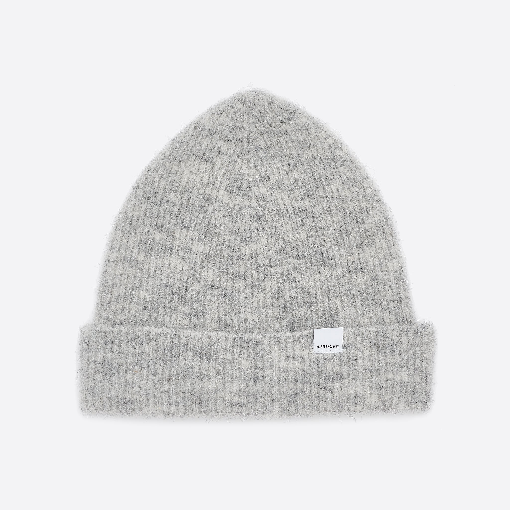Norse Projects Marta Brushed Beanie in Light Grey Melange