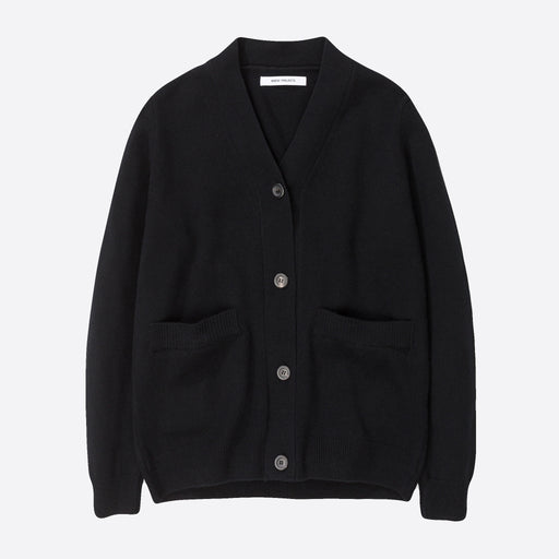 Norse Projects Laurine Lambswool Cardigan in Black