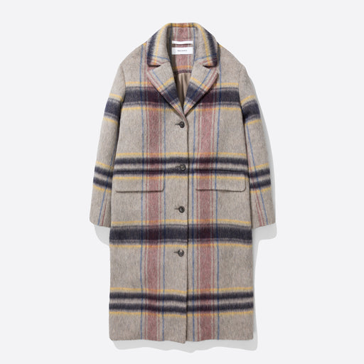 Norse Projects Sarah Checked Wool Coat in Light Grey Melange