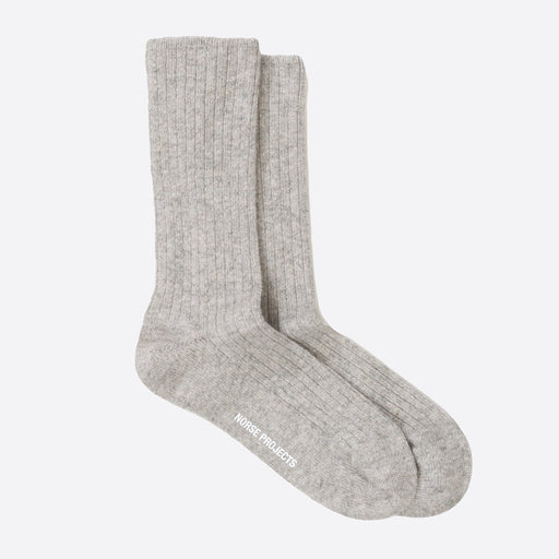 Norse Projects Siggy Lambswool Socks in Light Grey Melange