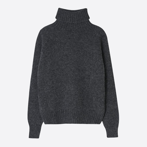 Norse Projects Helvig Lambswool Jumper in Dark Grey Melange