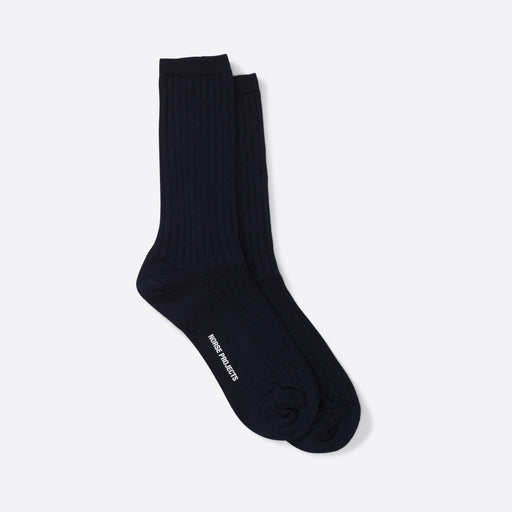 Norse Projects Bennedikte Classic Rib Socks in Dark Navy