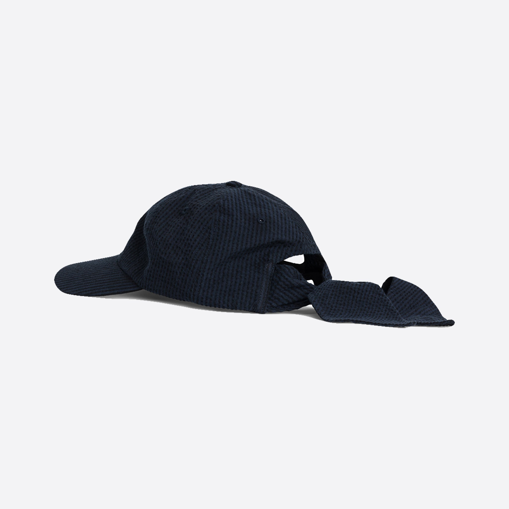 22a8bc2e17 Norse Projects Seersucker Sports Cap in Dark Navy — Our Daily Edit