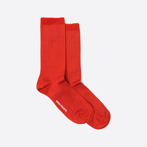 Norse Projects Bennedikte Classic Rib Socks in Rust