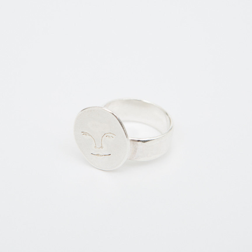 Polly Collins Moon Face Ring in Silver